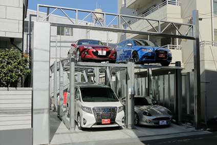 ZAM材を使った立体駐車場の例